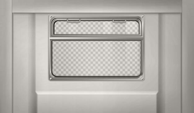 Vagone realistico della metropolitana o del treno con la finestra