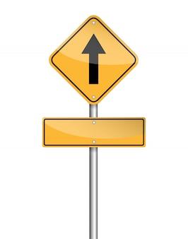 Vai dritto segno e segno vuoto per il testo sul palo del traffico su bianco