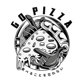 Vai illustrazione in bianco e nero di pizza