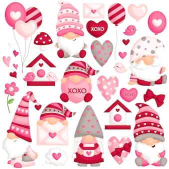 Valentine gnome vector set