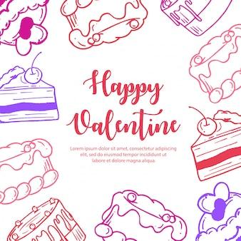 Valentine pattern disegnato a mano colorato