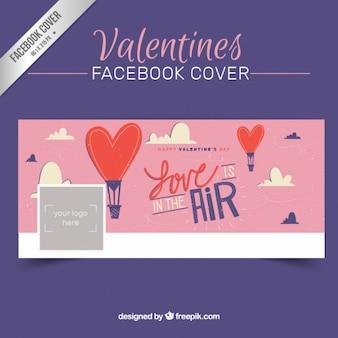Valentines day cover facebook in stile disegnato a mano