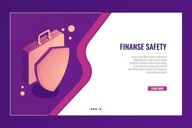 Valigia con scudo, protezione aziendale e sicurezza, assicurazione finanziaria