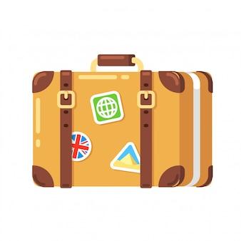 Valigia da viaggio vintage con adesivi, isolato. vecchia borsa da viaggio in pelle in stile cartone animato piatto.