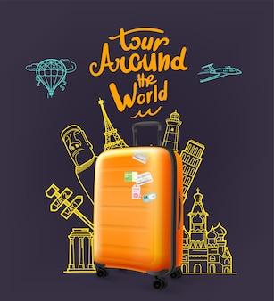 Valigia di plastica moderna arancione intorno al concetto di giro del mondo