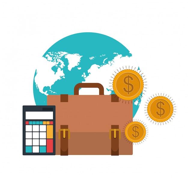 Valigia di uomo d'affari con calcolatrice e monete