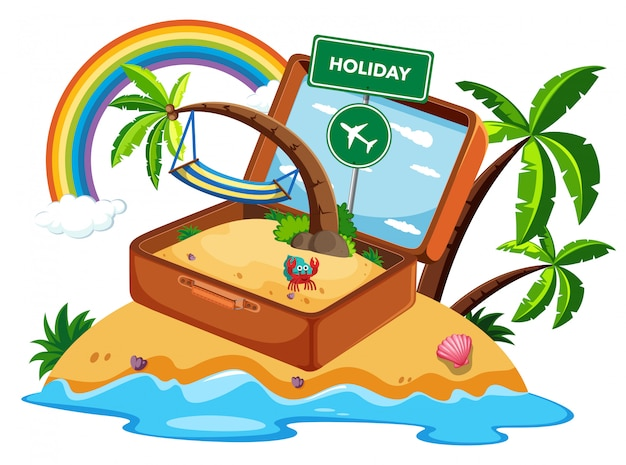 Valigia in icona di vacanza