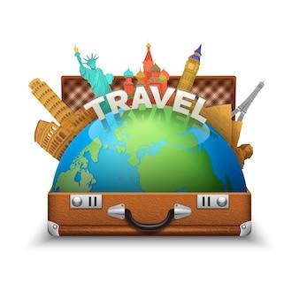 Valigia turistica aperta dell'annata con i punti di riferimento del mondo e del globo dentro