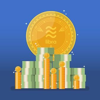 Valuta della bilancia con denaro contante in stile piano