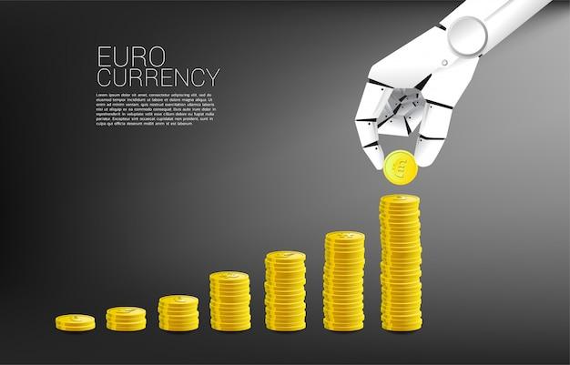 Valuta della moneta della pila della mano del robot euro e buon fondo del grafico di affari.