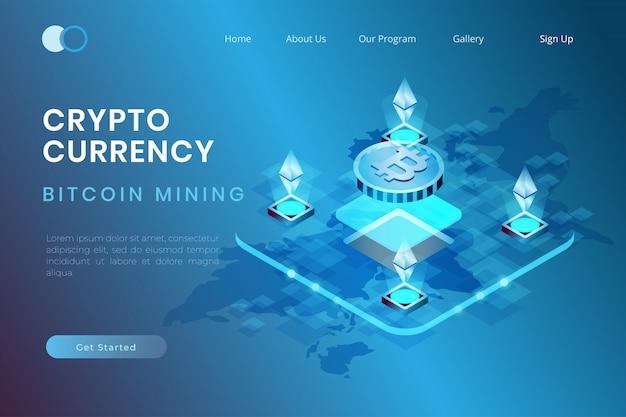 Valuta di criptovaluta di ethereum di estrazione mineraria nella progettazione isometrica 3d, bitcoin e illustrazione di scambio di criptovaluta