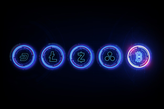 Valuta digitale bitcoin, litecoin, ripple, dash e zcash in forma di culla di newton, concetto di finanza mondiale fintech.