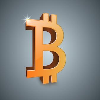 Valuta realistica di simbolo 3d di bitcoin