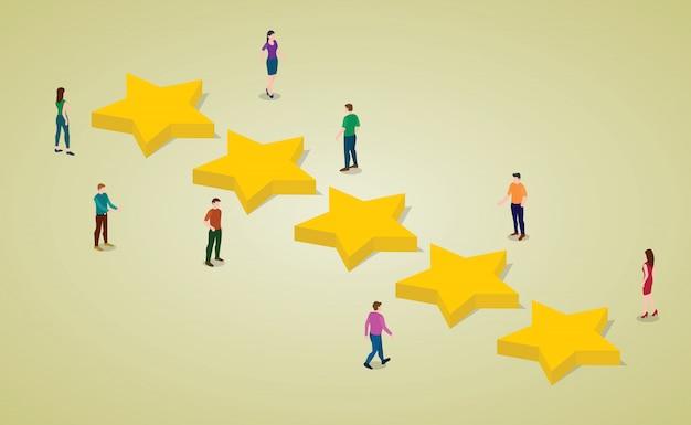 Valutazione dei clienti a cinque stelle con persone e stelle con un moderno stile piatto isometrico