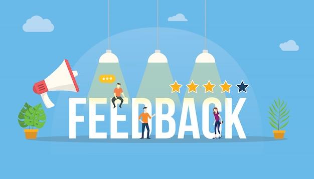 Valutazione del cliente di parole di feedback con team di persone