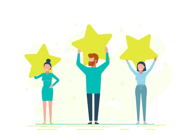 Valutazione delle recensioni dei clienti, diverse persone danno una valutazione e un feedback. valutazione delle stelle con valutazione di rango.