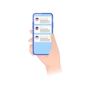 Valutazione dello smartphone nella moderna.concetto di notifiche di testimonianze, feedback. concetto di cliente. lo smartphone recensisce le stelle con un tasso buono e uno negativo.