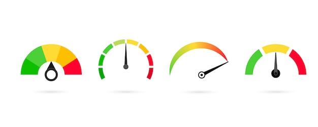 Valutazione misuratore di soddisfazione del cliente, tachimetro.
