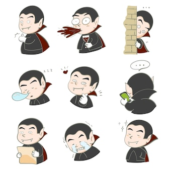 Vampiro di dracula disegnato a mano dell'illustrazione molti progettazione di carattere di emozione