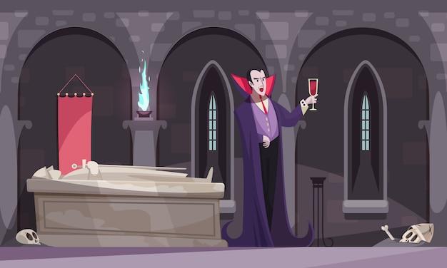 Vampiro in mantello viola che beve sangue dal bicchiere di vino nella volta di sepoltura con scheletri di tombe piatte
