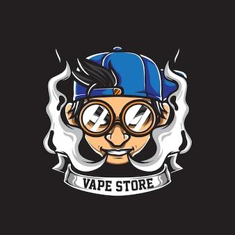 Vape store logo vettoriale