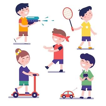 Vari bambini da gioco impostati
