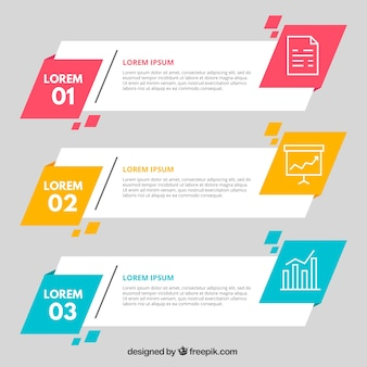 Vari banner infografici geometrici