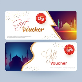 Vari design del buono regalo o layout del coupon con silhouette