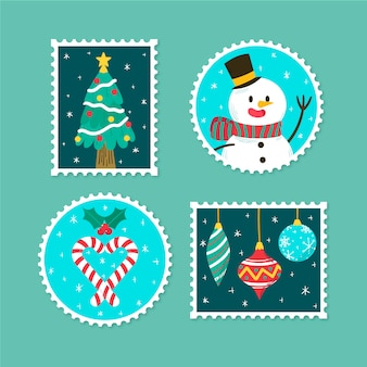 Vari design per francobolli natalizi disegnati a mano