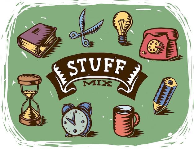 Vari disegni di oggetti per ufficio fatti a mano