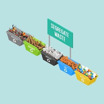 Vari grandi recipienti di riciclaggio isometrici nei colori differenti al cantiere