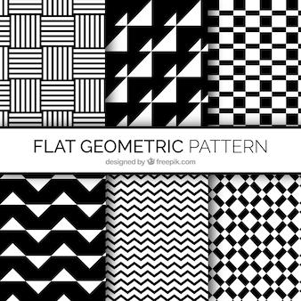 Vari modelli di forme geometriche in bianco e nero