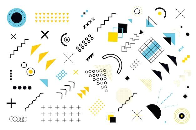 Vari modelli e forme geometriche sullo sfondo