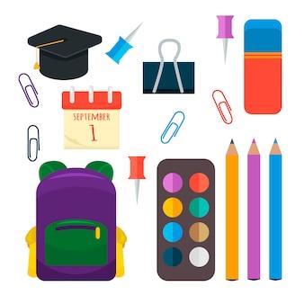 Vari set di forniture scolastiche individuali.