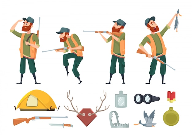 Vari strumenti per cacciatori di anatre