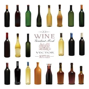 Vari tipi di bottiglie di vino. illustrazione vettoriale