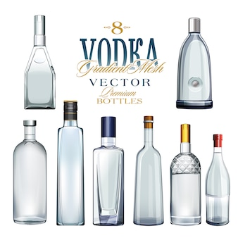 Vari tipi di bottiglie. illustrazione vettoriale