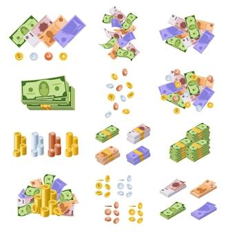 Vari tipi di denaro e valute monetarie, sotto forma di contanti, banconote, monete d'oro e d'argento.