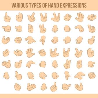 Vari tipi di espressioni della mano