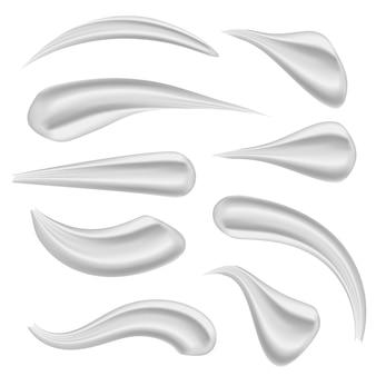 Vari tratti bellezza viso cosmetico, crema bianca.