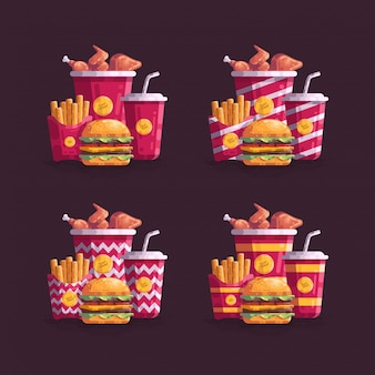 Varia illustrazione di vettore del menu degli alimenti a rapida preparazione di stile