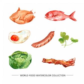 Varia illustrazione isolata dell'alimento dell'acquerello