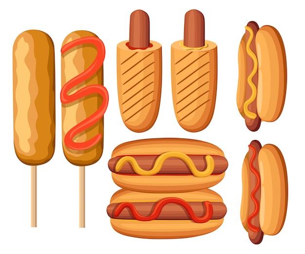 Variazioni di hot dog. salsiccia, bratwurst e altre illustrazioni dell'illustrazione variopinta della raccolta delle icone del menu del fast food del cibo spazzatura. pagina del sito web e app per dispositivi mobili