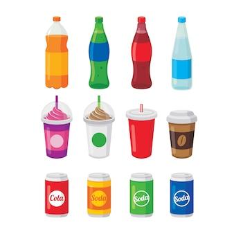 Varie bevande analcoliche in bottiglie e lattine, un bicchiere di caffè e illustrazione vettoriale cola