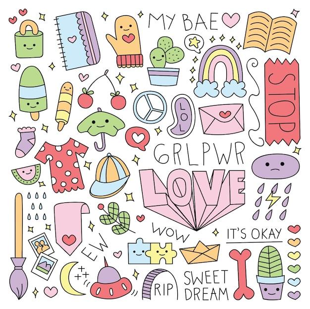 Varie cose carine in stile doodle illustrazione vettoriale