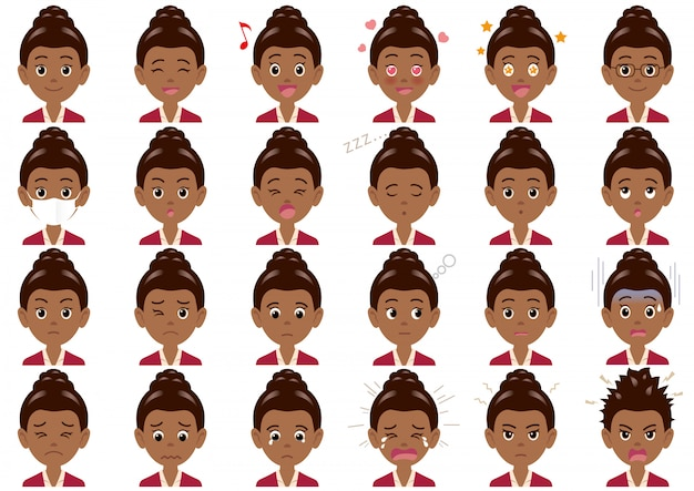 Varie espressioni della donna di affari fissate. caratteri vettoriali isolati