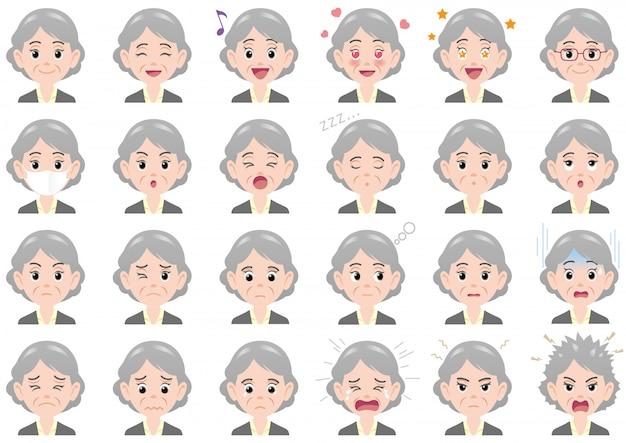 Varie espressioni della donna di affari fissate