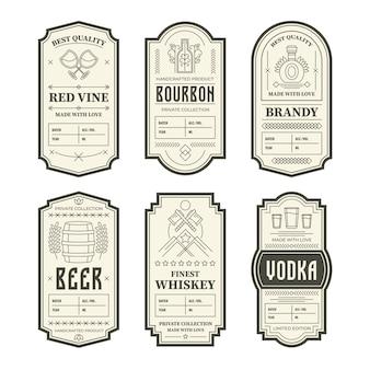 Varie etichette di bottiglie di alcol vintage