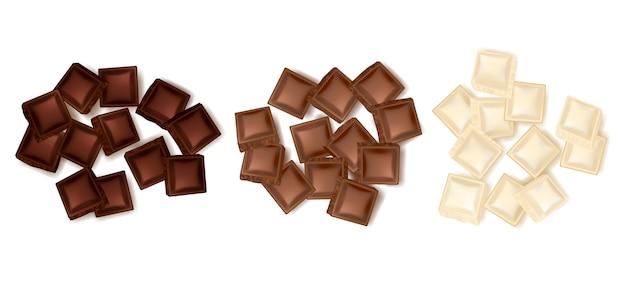 Varie fette di cioccolato impostate