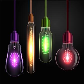 Varie forme di lampadine colorate